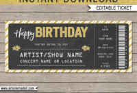 Printable Concert Ticket Template | Birthday Gift Voucher in Golf Gift Certificate Template