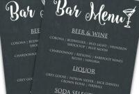 Printable Diy Bar Menu Template   Bar Menu, Menu Template inside Cocktail Menu Template Word Free