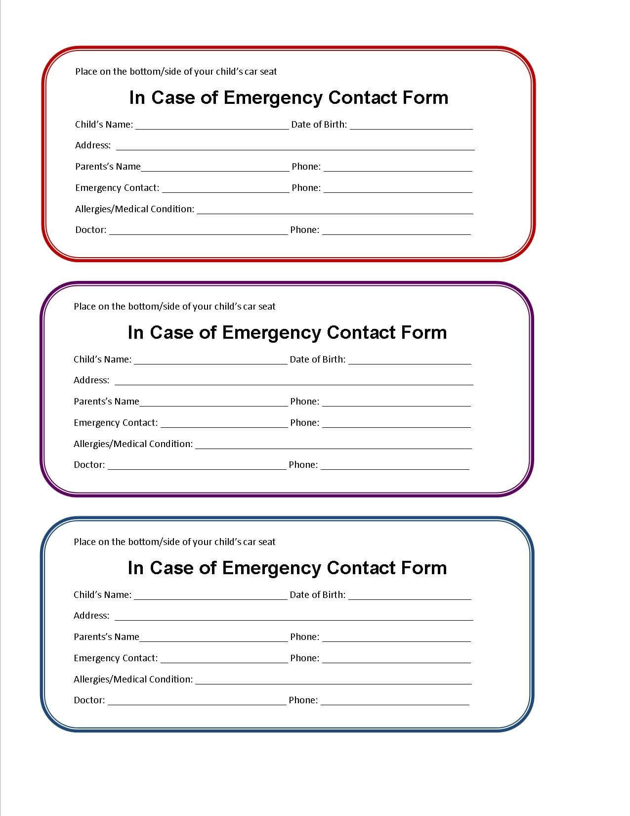 Printable Emergency Contact Form For Car Seat | Emergency Inside Emergency Contact Card Template