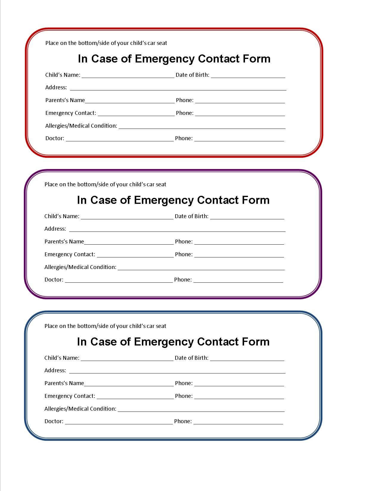 Printable Emergency Contact Form For Car Seat | Emergency Within In Case Of Emergency Card Template