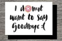 Printable Farewell Card /printable Goodbye Card – I Donut with regard to Goodbye Card Template
