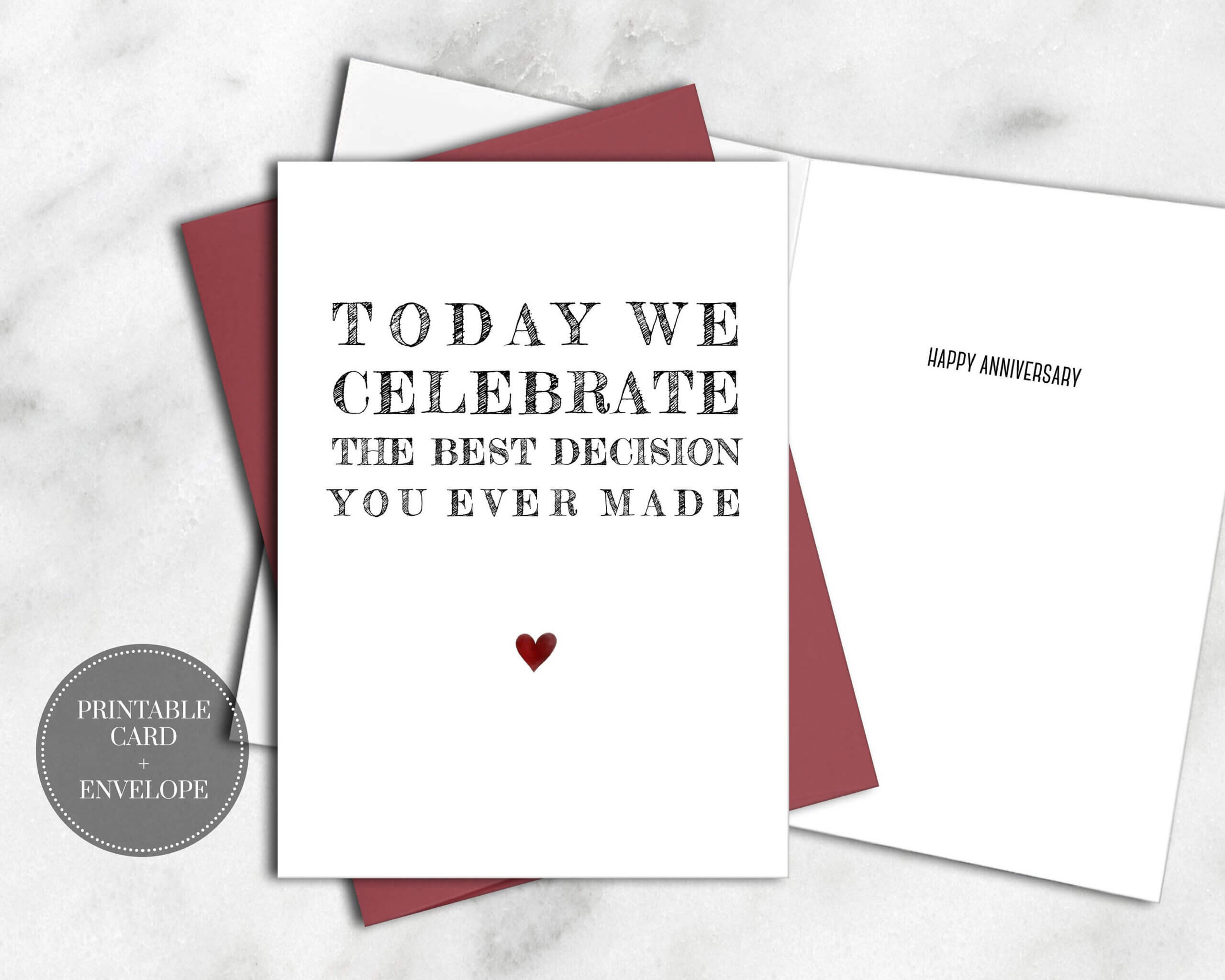 Printable Funny Anniversary Card For Him Instant Download Throughout Decision Card Template