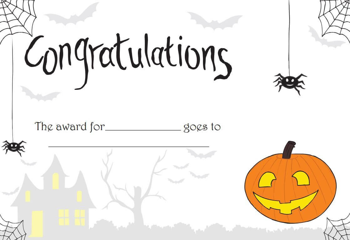 Printable Halloween Certificate - Great For Teachers Or For Regarding Halloween Certificate Template