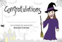 Printable Halloween 'scariest Costume' Certificate For for Halloween Costume Certificate Template