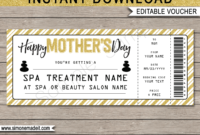 Printable Mother's Day Spa Voucher Template | Spa Gift inside Spa Day Gift Certificate Template