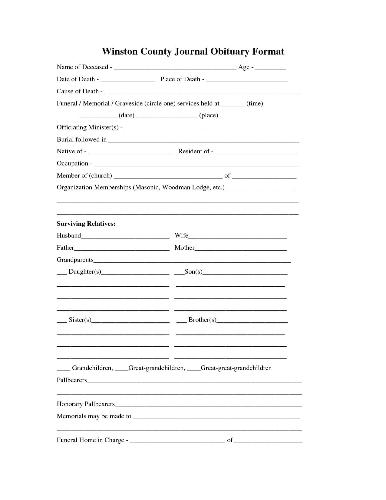 Printable Obituary Template | Fill In The Blank Obituary Pertaining To Fill In The Blank Obituary Template