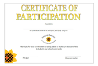 Printable Participation Certificate | Templates At pertaining to Certificate Of Participation In Workshop Template