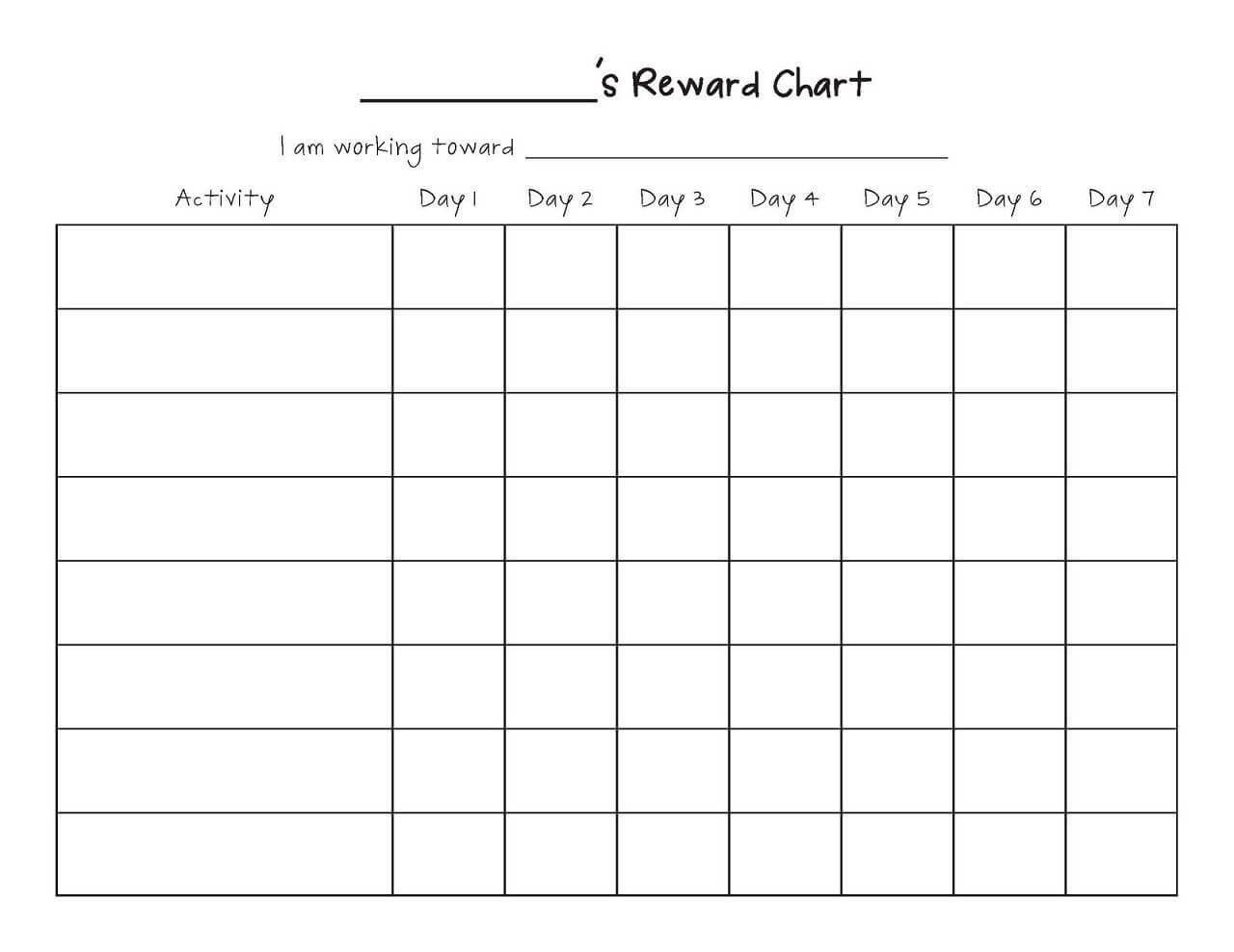 Printable Reward Chart Template | Reward Chart Template In Reward Chart Template Word