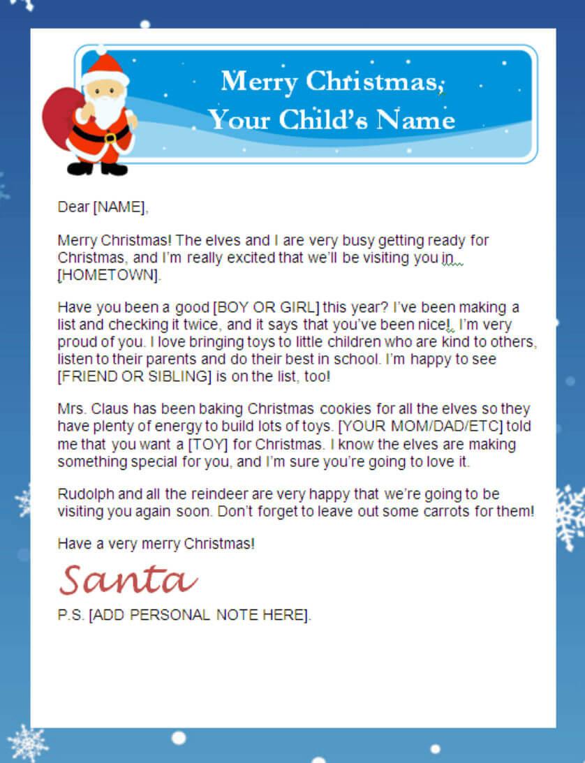 Printable Santa Letters | Intended For Santa Letter Template Word