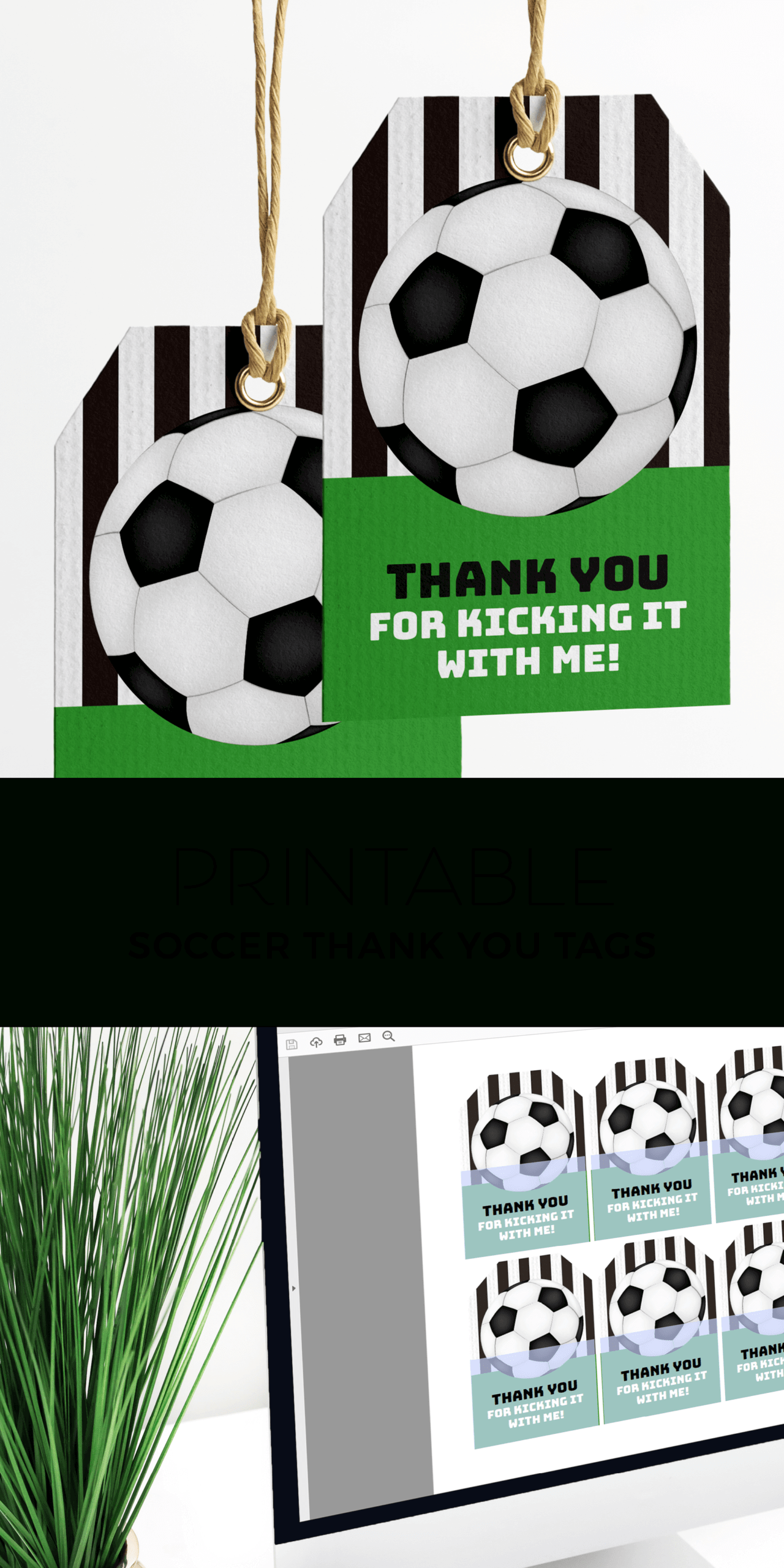 Printable Soccer Party Thank You Tags In 2020   Soccer Party In Soccer Thank You Card Template