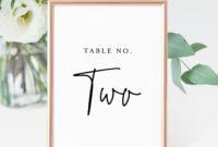 Printable Table Number Cards, Minimalist Wedding Table inside Table Number Cards Template