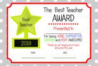 Printable Teacher Appreciation Certificate, Teacher Thankyou with Best Teacher Certificate Templates Free