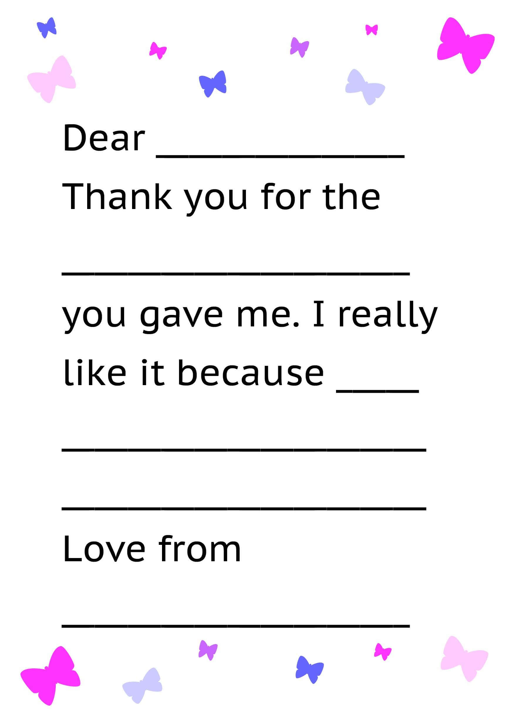 Printable Thank You Card Template For Kids | Letter Template For Thank You Note Card Template