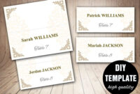 Printable Wedding Placecard Template 3.5X2 Foldover, Diy regarding Fold Over Place Card Template