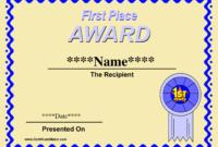 Printable Winner Certificate Templates | Certificate regarding First Place Certificate Template