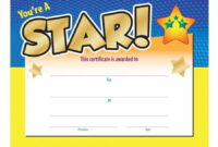 Printable You're A Star! Award Gold Foilstamped Certificate intended for Star Award Certificate Template
