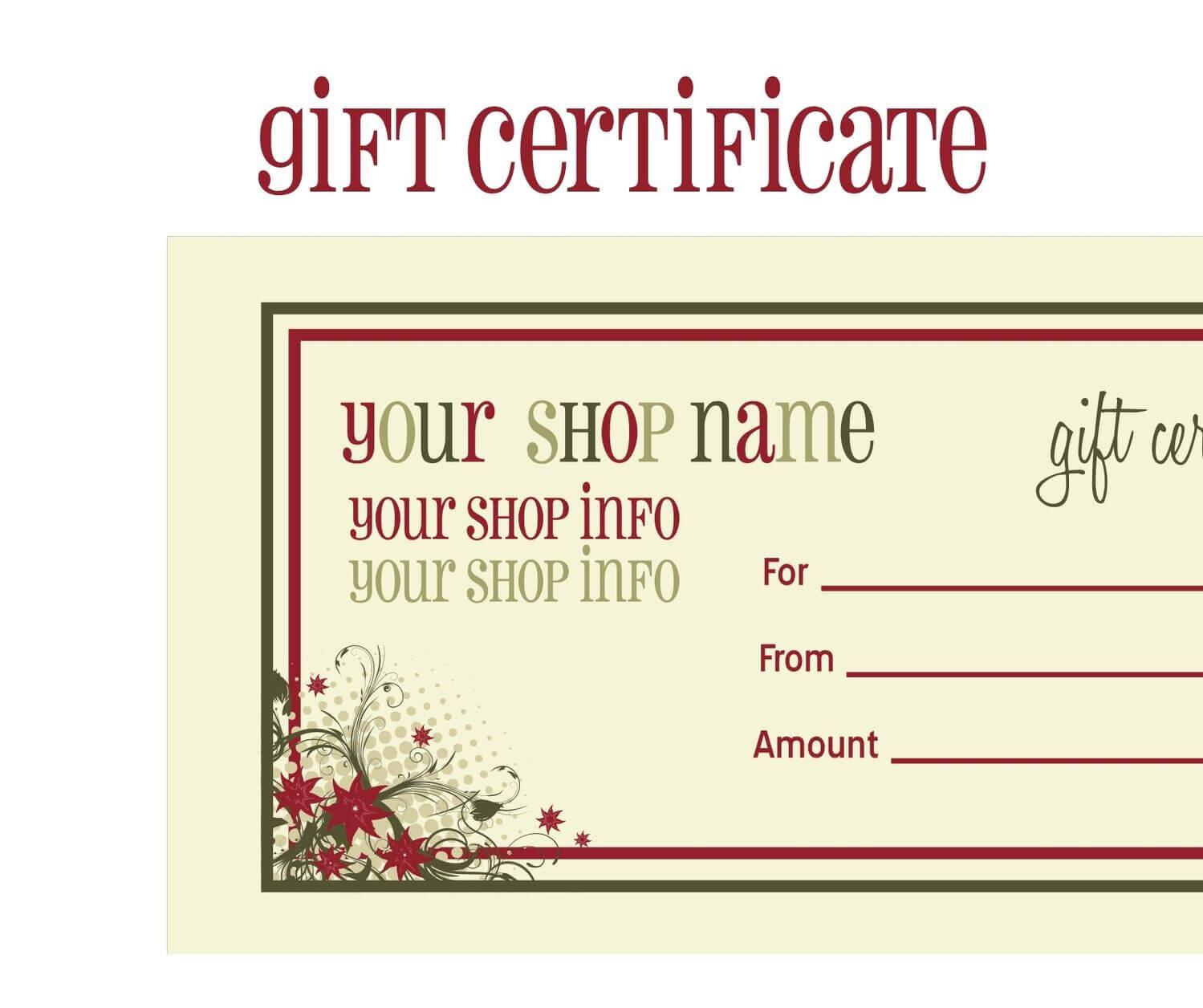 Printable+Christmas+Gift+Certificate+Template | Gift Within Massage Gift Certificate Template Free Printable