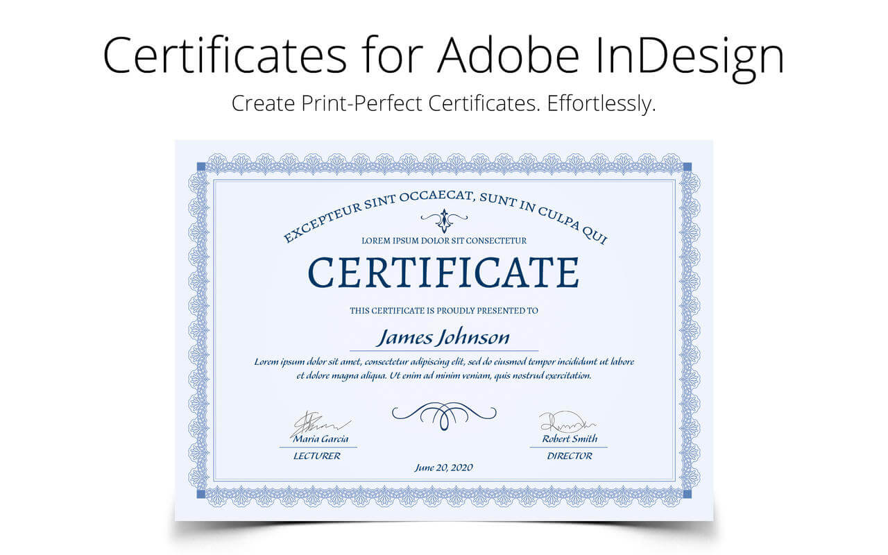 Printperfect – Certificate Templates For Indesign Intended For Indesign Certificate Template
