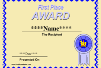 Prize Certificate Template Free – Zimer.bwong.co intended for First Place Award Certificate Template