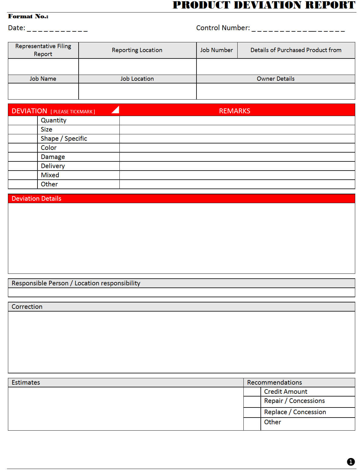 Product Deviation Report - With Deviation Report Template
