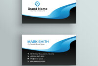 Professional Blue Wave Business Card Template throughout Professional Business Card Templates Free Download