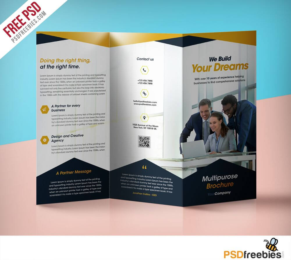 Professional Corporate Tri Fold Brochure Free Psd Template Intended For Free Three Fold Brochure Template