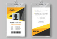 Professional Id Card Template With Yellow Details with Template For Id Card Free Download