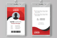 Professional Identity Card Template With Red Intended For Photographer Id Card Template