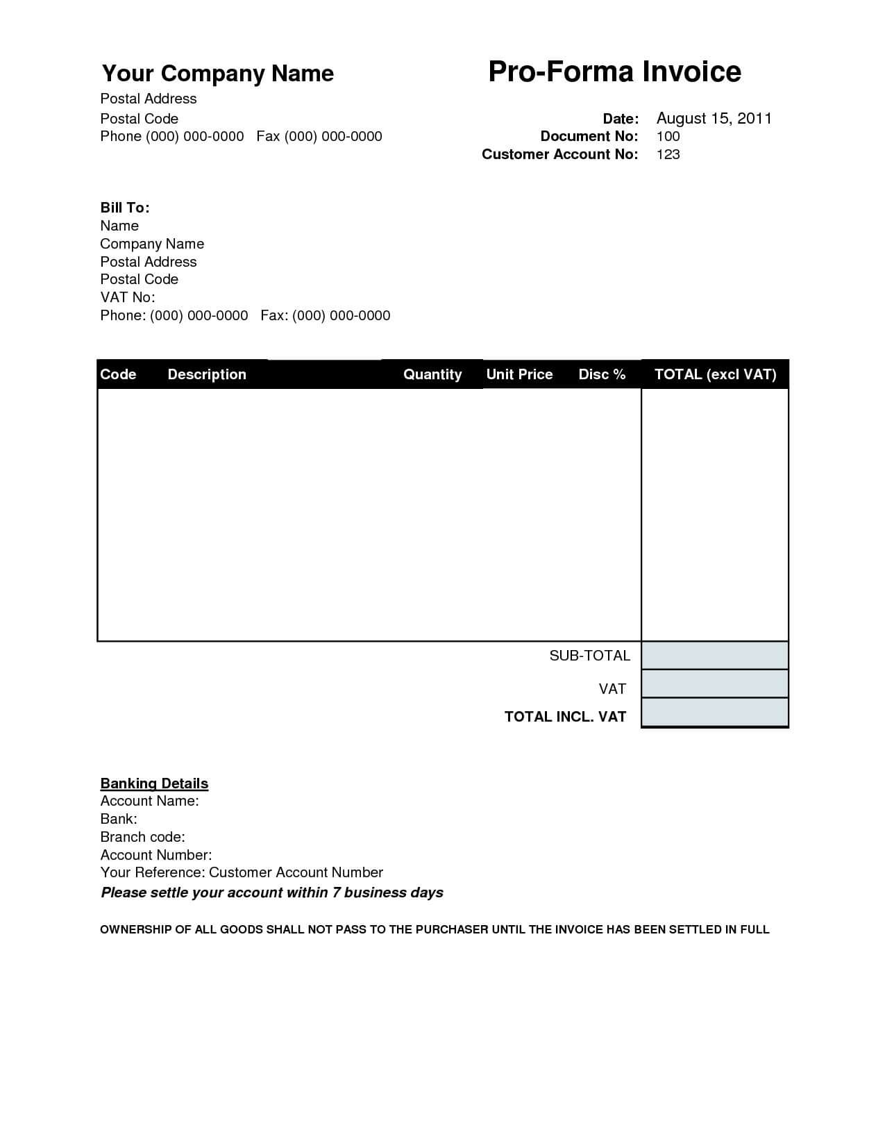 Proforma Invoice Sample Invoice Template Ideas Performa With Regard To Free Proforma Invoice Template Word