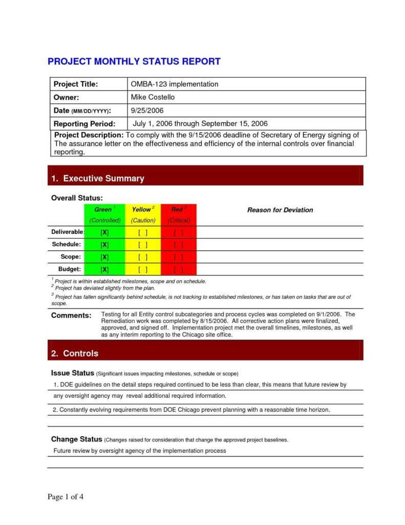 Project Daily Status Report Template Excel And Create Weekly Within Project Implementation Report Template