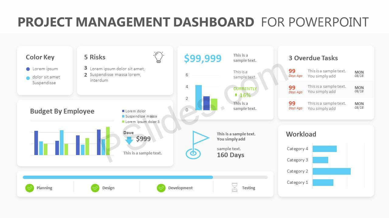 Project Management Dashboard Powerpoint Template - Pslides Intended For Project Dashboard Template Powerpoint Free