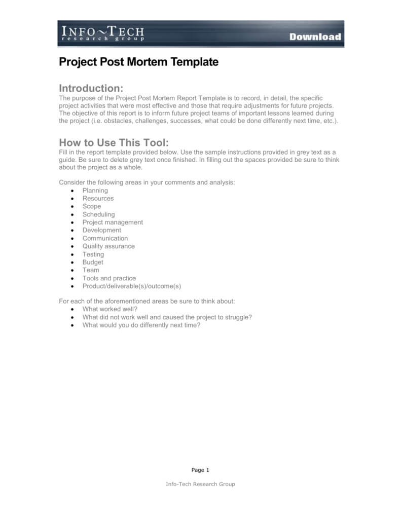 Project Post Mortem Template For Post Project Report Template