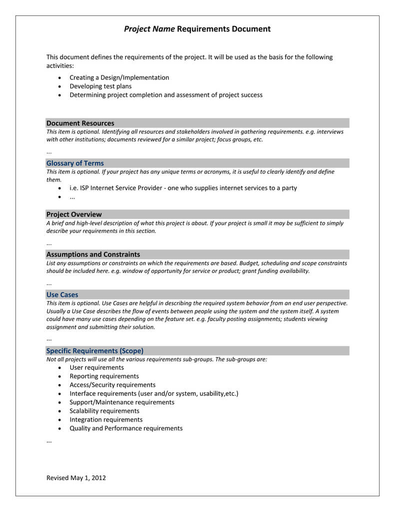 Project Requirements Template With Reporting Requirements Template