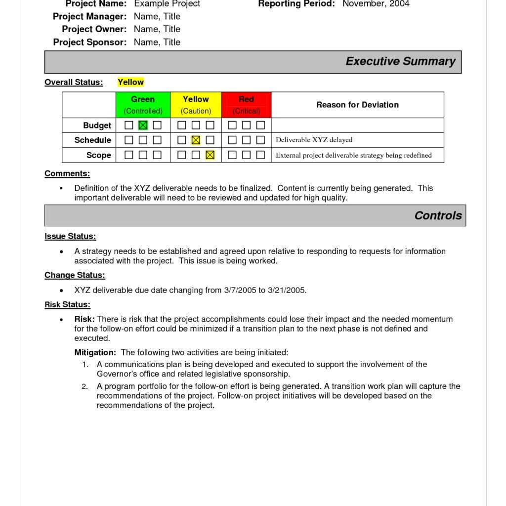Project Status Report Sample | Project Status Report, Report With Regard To Project Manager Status Report Template