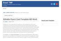 Punch Card Templateexcel Tmp – Issuu regarding Product Line Card Template Word