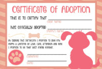 Puppy Adoption Certificate … | Adoption Certificate, Puppy within Toy Adoption Certificate Template