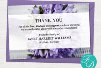 Purple Funeral Thank You Notes – Funeral Template in Sympathy Thank You Card Template