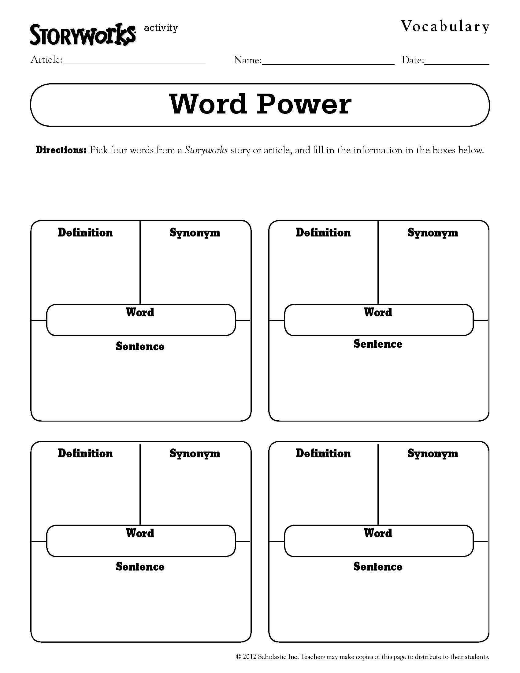 Quick And Easy Vocabulary Activity – Use It With Any Text With Regard To Vocabulary Words Worksheet Template