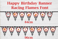 Race Car Theme 'happy Birthday' Banner. Birthday Party Intended For Cars Birthday Banner Template