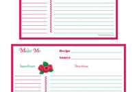 Raspberries Recipe Card – 4X6 & 5X7 Page | Printable Recipe In Fillable Recipe Card Template