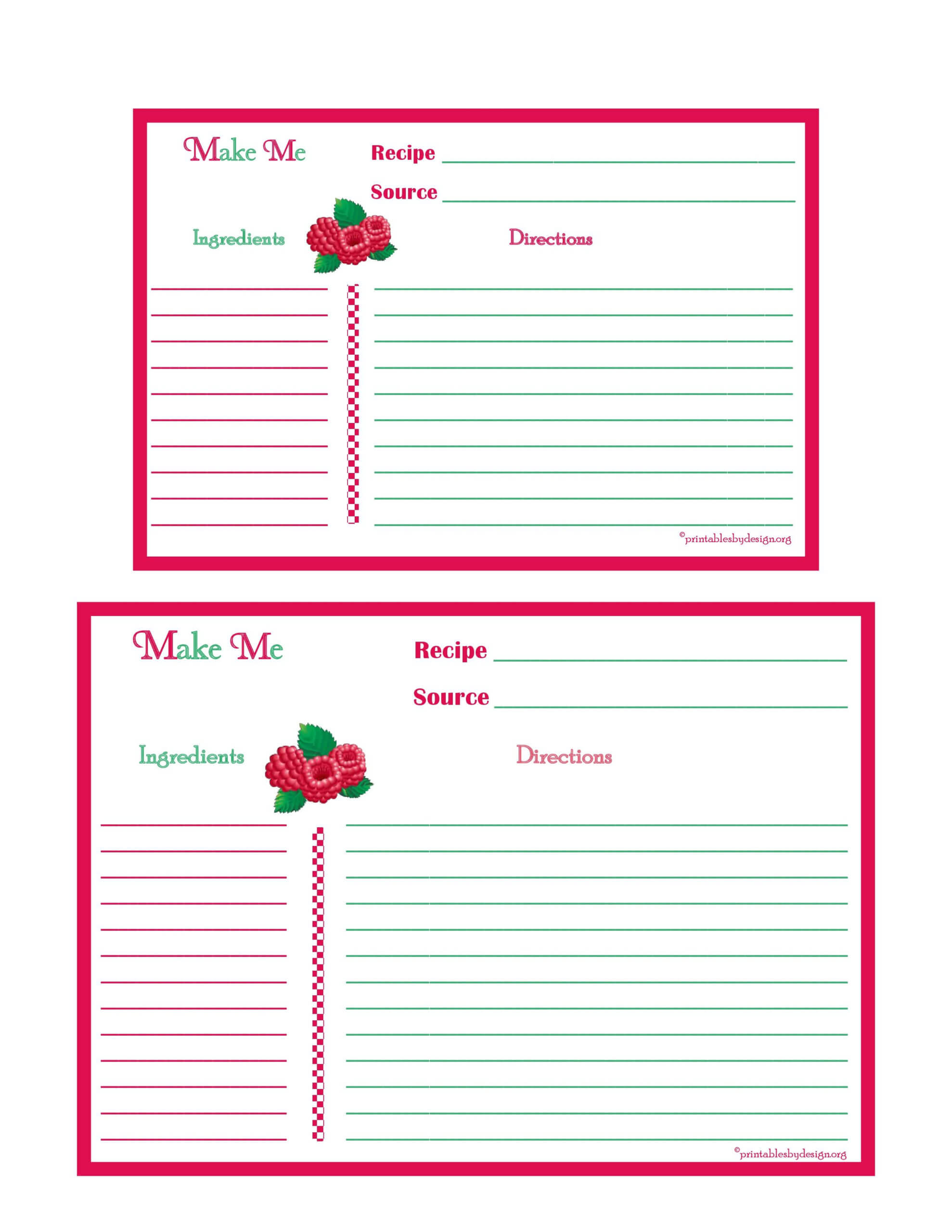 Raspberries Recipe Card – 4X6 & 5X7 Page | Printable Recipe In Fillable Recipe Card Template
