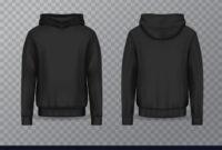 Realistic Men Hoodie Or Black 3D Hoody Sweatshirt for Blank Black Hoodie Template