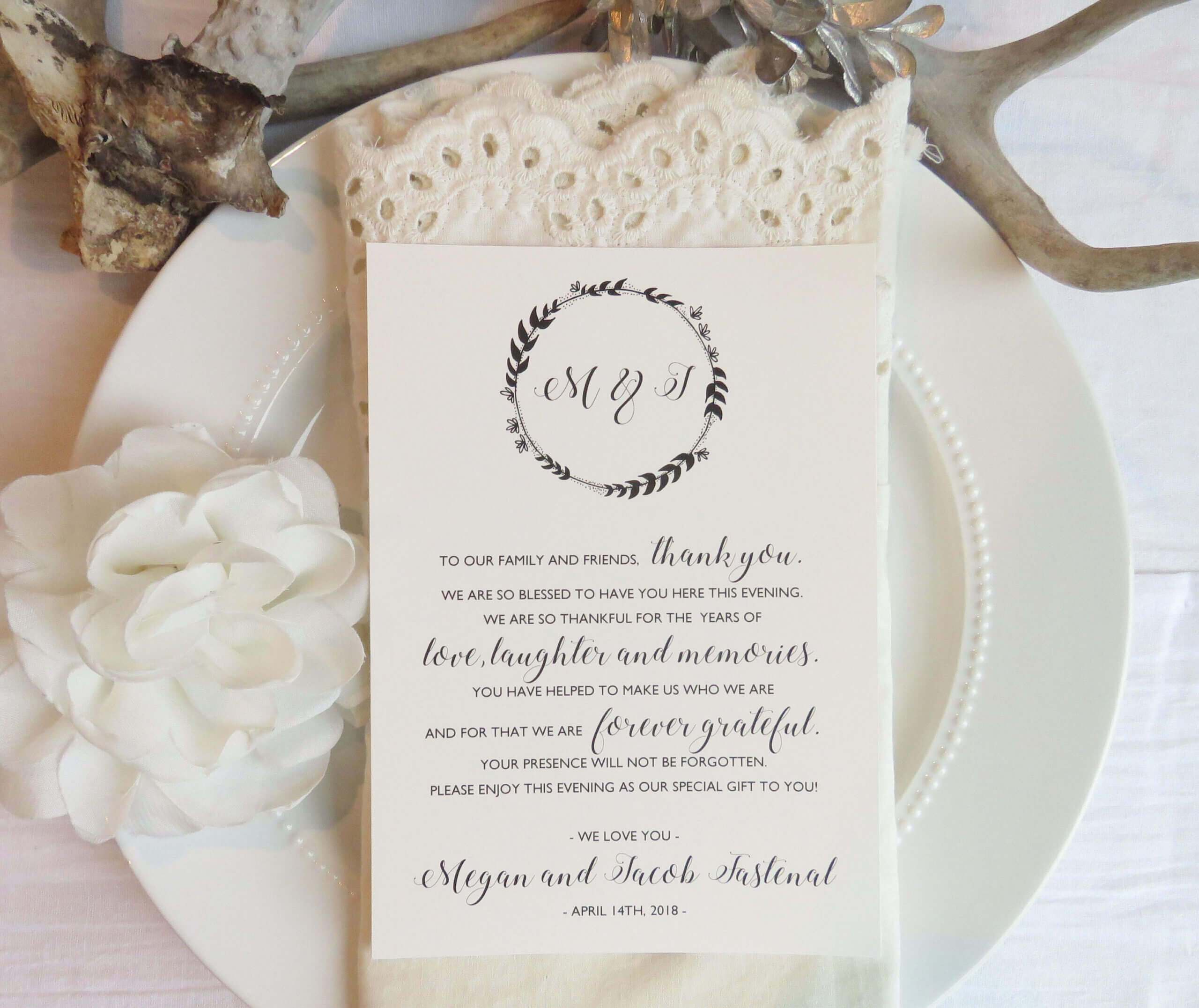 Reception Thank You Card Template | Instant Download Pdf Throughout Template For Wedding Thank You Cards