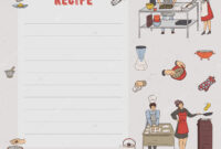 Recipe Card Cookbook Page Design Template People Preparing for Restaurant Recipe Card Template