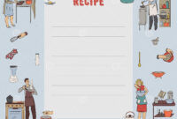 Recipe Card. Cookbook Page. Design Template With People for Restaurant Recipe Card Template