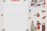 Recipe Card. Cookbook Page. Design Template With People regarding Recipe Card Design Template