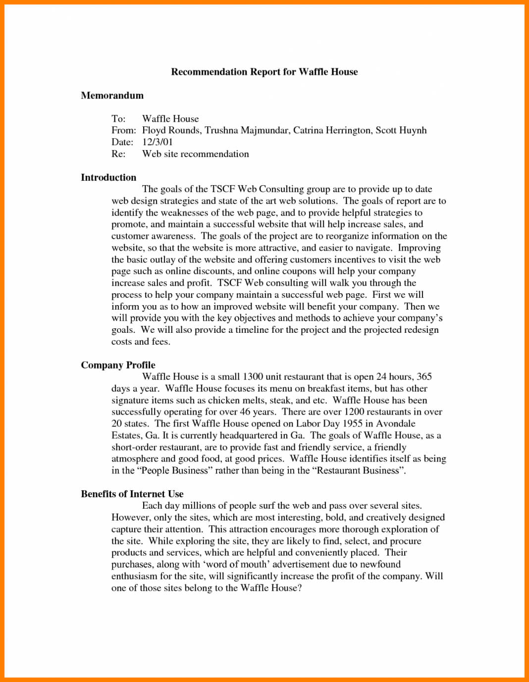 Recommendation Report Example Letter Adress Examples Of For Recommendation Report Template