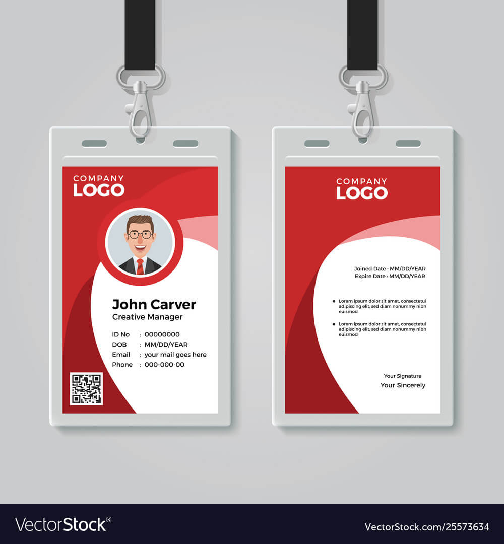 Red Corporate Id Card Template Within Work Id Card Template