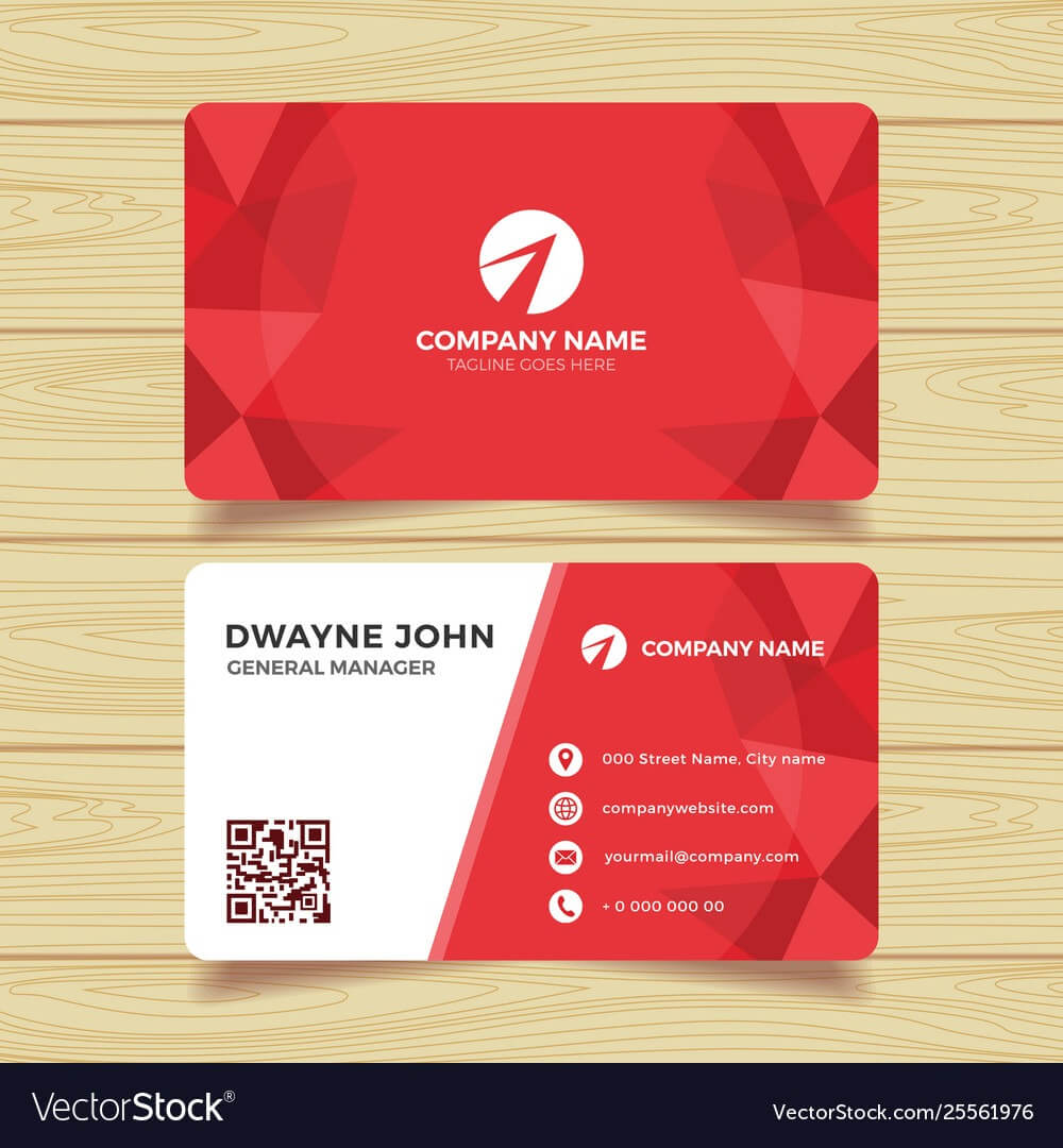 Red Geometric Business Card Template For Calling Card Free Template