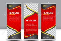 Red Roll Up Banner Template Illustration,polygon Background,banner.. intended for Pop Up Banner Design Template